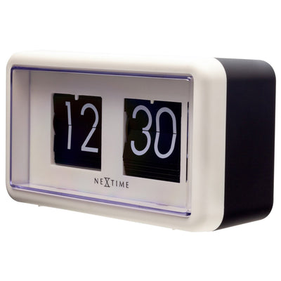 NeXtime Small Flip Wall or Desk Clock White Black 18cm 575228WI 2