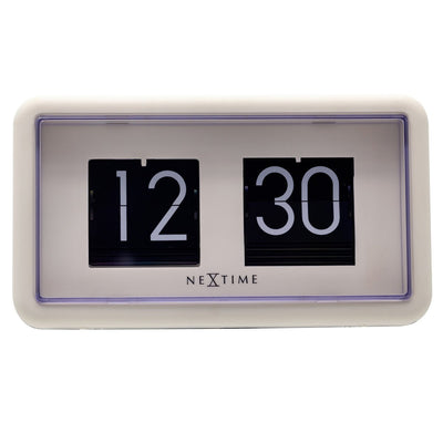 NeXtime Small Flip Wall or Desk Clock White Black 18cm 575228WI 3