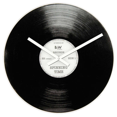 NeXtime Spinning Time Vinyl Record Glass Wall Clock 43cm NTB2500001