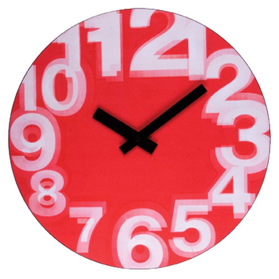 nextime zoom lenticular blurry numbers red wall clock 39cm nt2916
