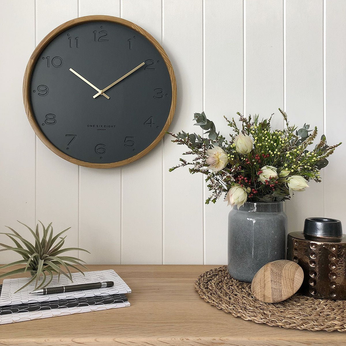 One Six Eight London Freya Wall Clock Charcoal Grey 35cm 21009 1