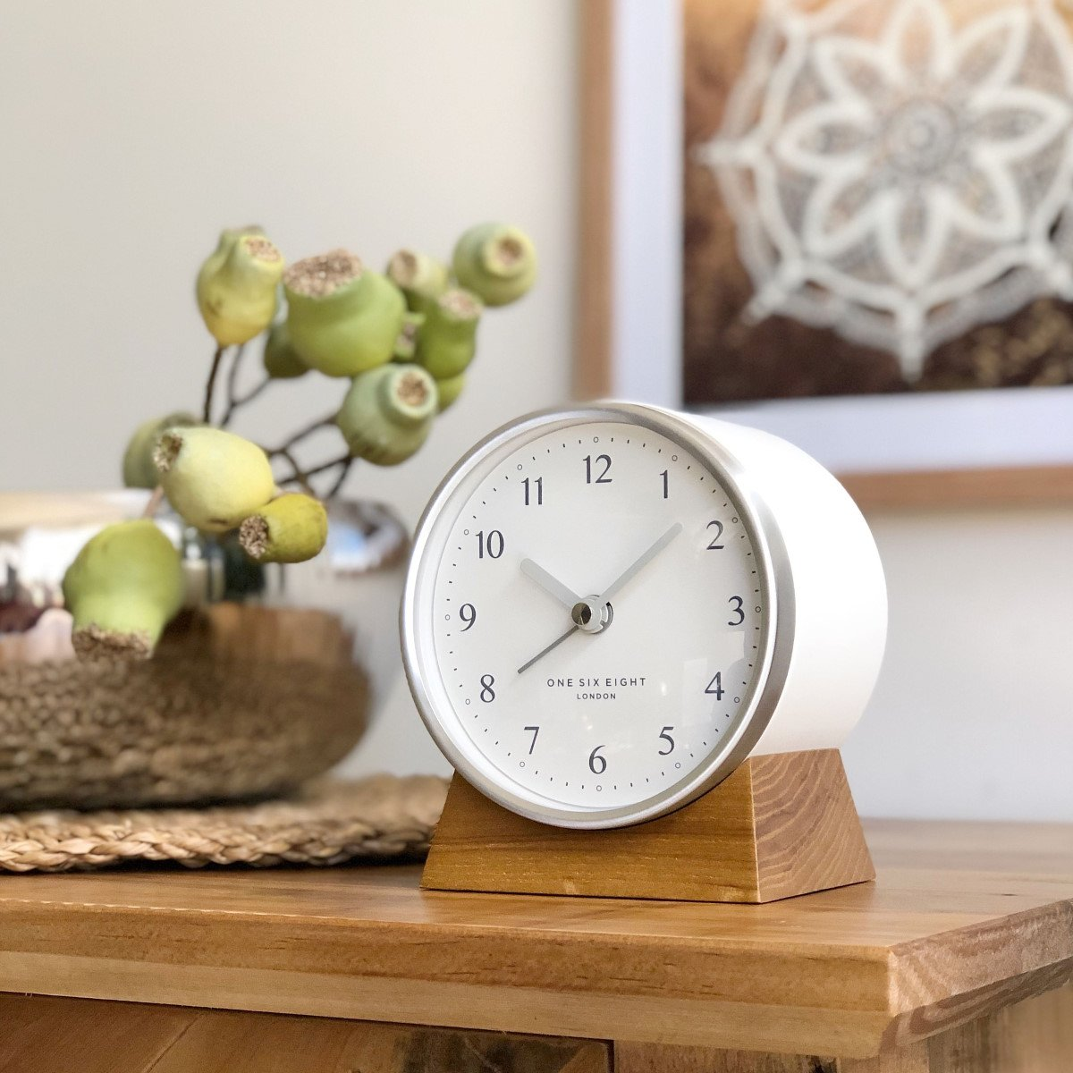 One Six Eight London Nina Alarm Clock White 12cm 31004 1