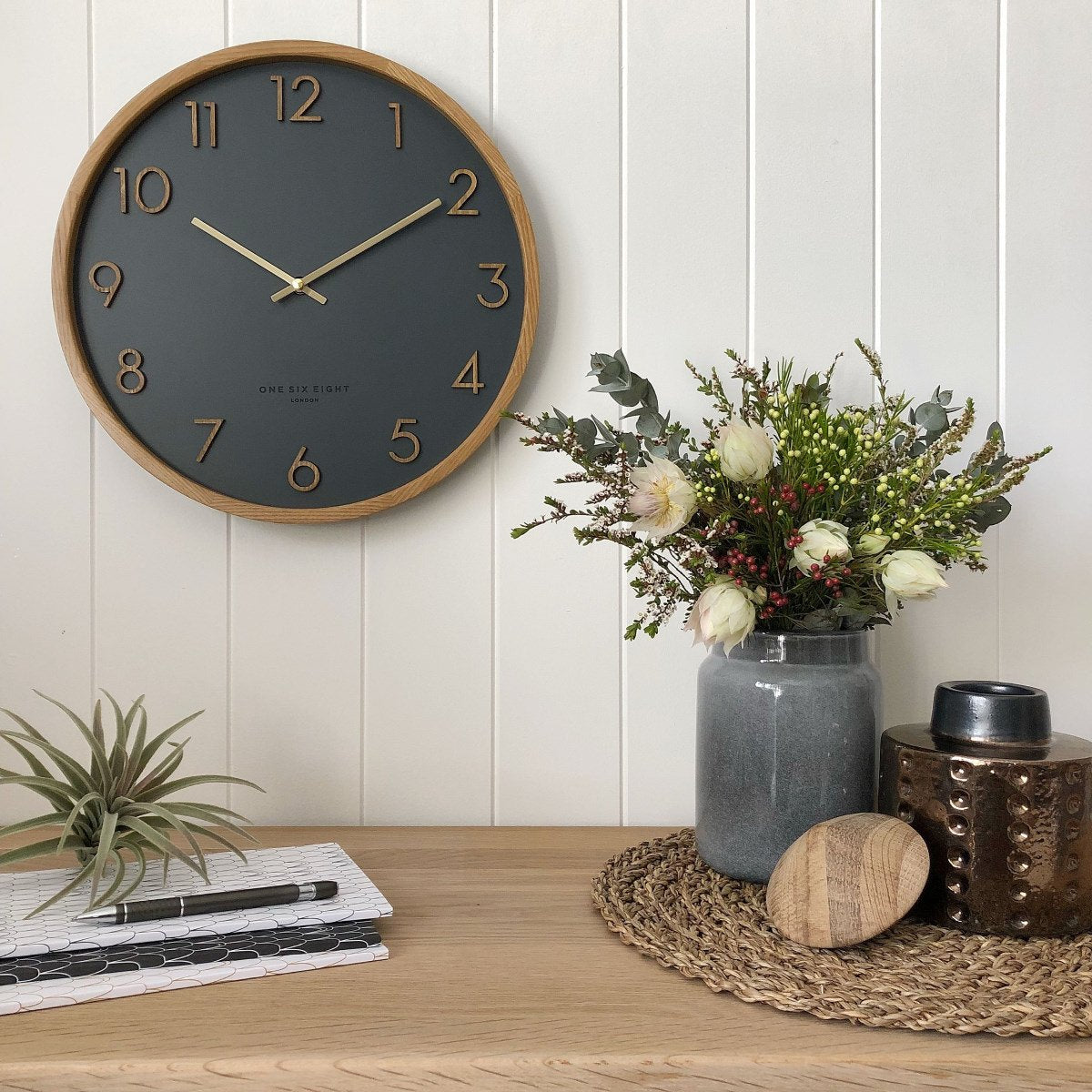 One Six Eight London Scarlett Wall Clock Charcoal Grey 35cm 21005 1