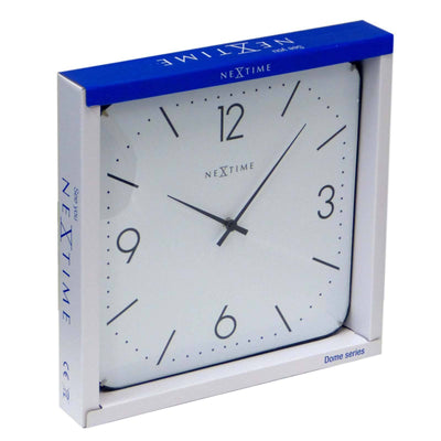 NeXtime Basic Square Glass Dome Wall Clock White Box 35cm 573174