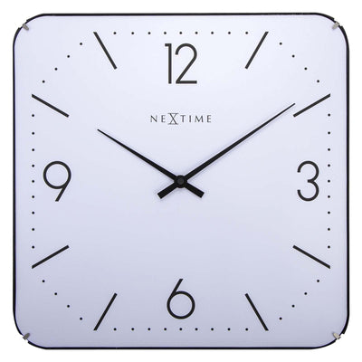 NeXtime Basic Square Glass Dome Wall Clock White 35cm 573174