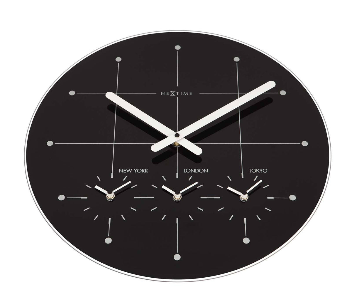 Buy NeXtime Big City Multiple Timezone Black Glass Wall Clock 43cm