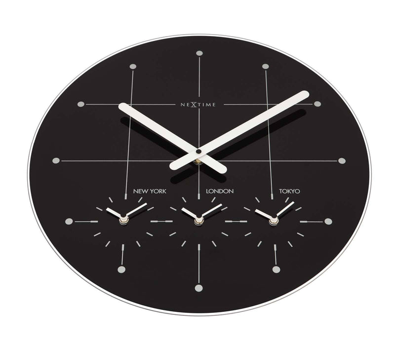 Buy nextime big city multiple timezone black glass wall for Black glass wall clock