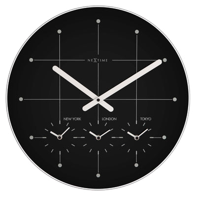 NeXtime Big City Multiple Timezone Black Glass Wall Clock Front 43cm 57214ZW