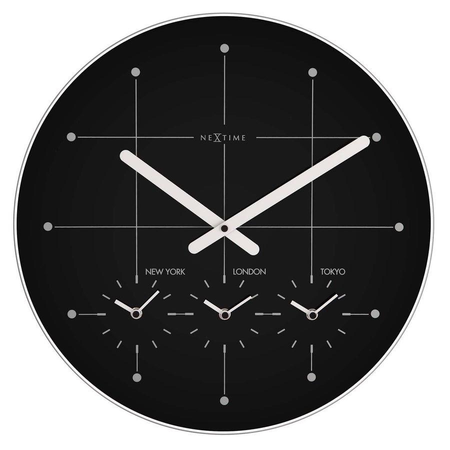 NeXtime Big City Multiple Timezone Black Glass Wall Clock Angle 43cm 57214ZW