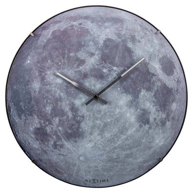 NeXtime Blue Moon Glass Dome Glow In The Dark Wall Clock Front 30cm 573164