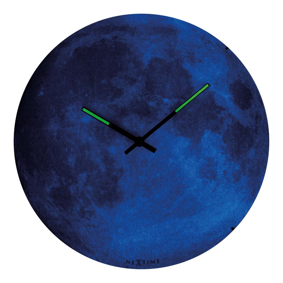 NeXtime Blue Moon Glass Dome Glow In The Dark Wall Clock Angle 30cm 573164