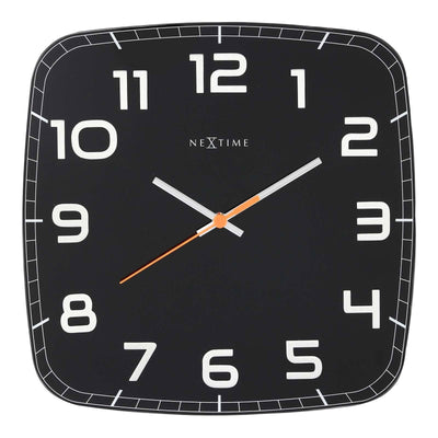 NeXtime Classy Square Glass Wall Clock Black Front 31cm 578816ZW