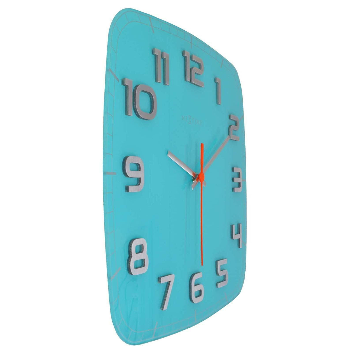 Buy NeXtime Classy Square Glass Wall Clock Turquoise 31cm Online