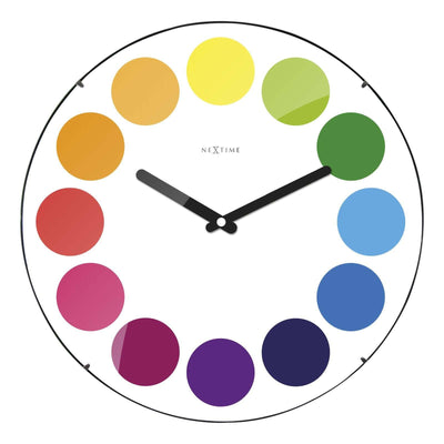 NeXtime Dots Glass Dome Wall Clock White 35cm 573166