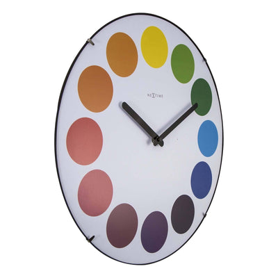 NeXtime Dots Glass Dome Wall Clock White Angle 35cm 573166