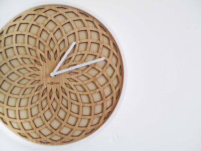 NeXtime Dream Catcher Sun Wood Wall Clock Beige Display 35cm 573150BE
