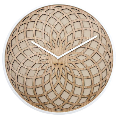 NeXtime Dream Catcher Sun Wood Wall Clock Beige Front 35cm 573150BE