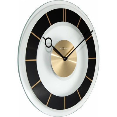 NeXtime Retro Glass Wall Clock Black Angle 31cm 572790ZW