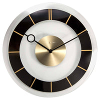 NeXtime Retro Glass Wall Clock Black Front 31cm 572790ZW