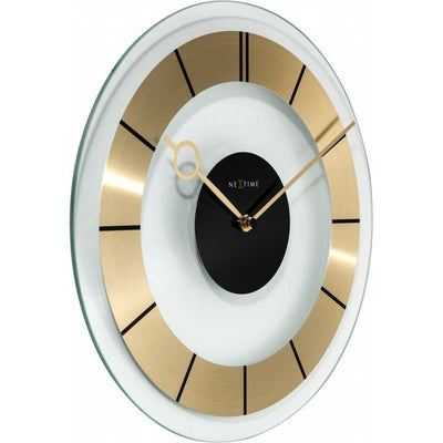 NeXtime Retro Glass Wall Clock Gold Angle 31cm 572790GO