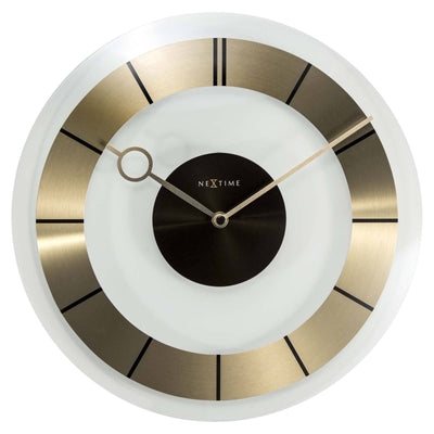 NeXtime Retro Glass Wall Clock Gold Front 31cm 572790GO