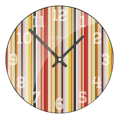 NeXtime Smithy Glass Dome Multicolour Stripes Wall Clock 35cm 573168