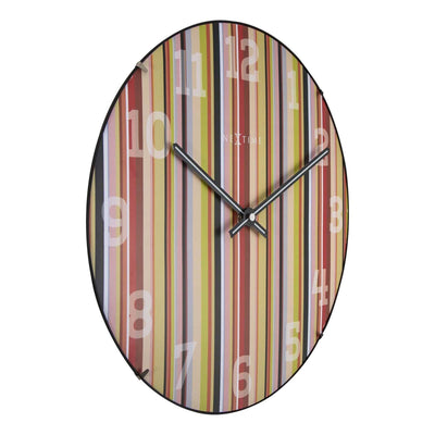 NeXtime Smithy Glass Dome Multicolour Stripes Wall Clock Angle 35cm 573168