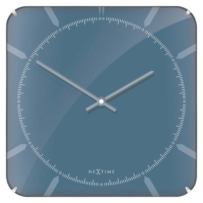 NeXtime Square Glass Dome Michael Wall Clock Blue 35cm 573172