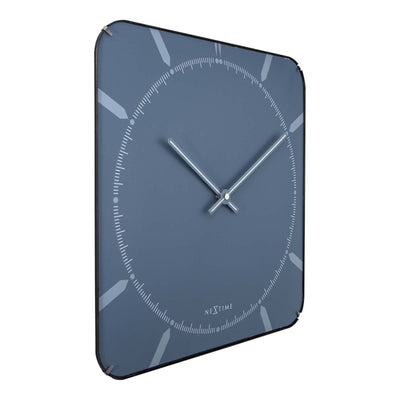 NeXtime Square Glass Dome Michael Wall Clock Blue Angle 35cm 573172