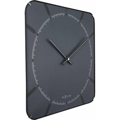 NeXtime Square Glass Dome Michael Wall Clock Grey Angle 35cm 573173