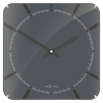 NeXtime Square Glass Dome Michael Wall Clock Grey Front 35cm 573173