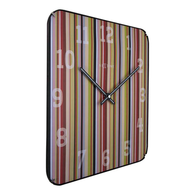 NeXtime Smithy Square Glass Dome Multicolour Stripes Wall Clock Angle 35cm 573169