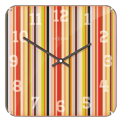 NeXtime Smithy Square Glass Dome Multicolour Stripes Wall Clock Front 35cm 573169