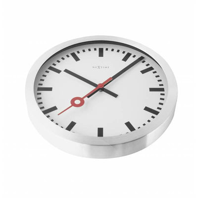 NeXtime Station Aluminium Wall Clock Index Flat 35cm 573999ST