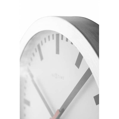 NeXtime Station Aluminium Wall Clock Index Zoom5 35cm 573999ST