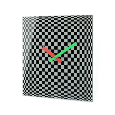 NeXtime Victor Square Glass Geometric Art Wall Clock Angle2 43cm 578178