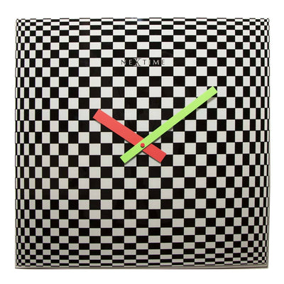 NeXtime Victor Square Glass Geometric Art Wall Clock Front 43cm 578178