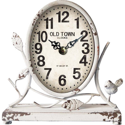 Old Town Antique White Country Table Clock 23cm 11709CLK Front