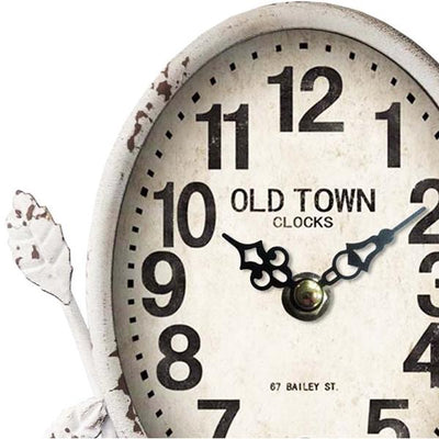 Old Town Antique White Country Table Clock 23cm 11709CLK Top