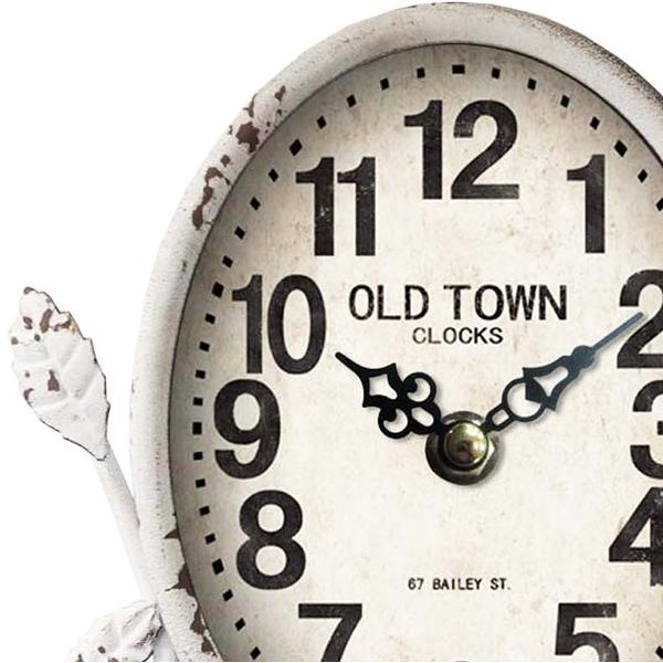 Old Town Antique White Country Table Clock, 23cm