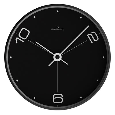 Oliver Hemming Black Steel Case Ten To Six Wall Clock Black 30cm W300B14BTW 2