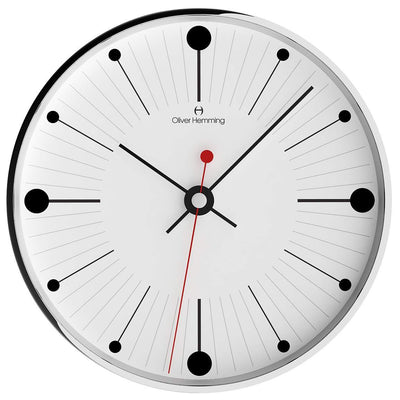 Oliver Hemming Chrome Case Dots & Lines Wall Clock White 30cm W300S6WTB 1