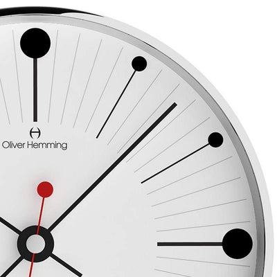 Oliver Hemming Chrome Case Dots & Lines Wall Clock White 30cm W300S6WTB 2