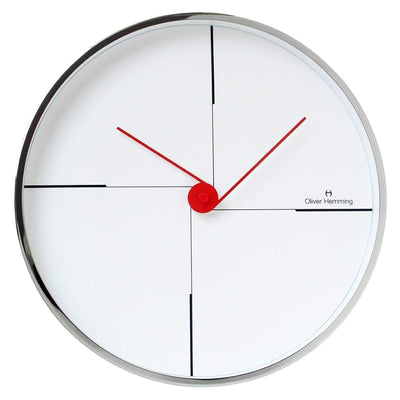 Oliver Hemming Chrome Case Funky Wall Clock White 30cm W300S9W 1