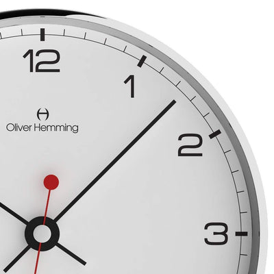 Oliver Hemming Chrome Case Simplex Numbers Wall Clock White 30cm W300S5WTB 2