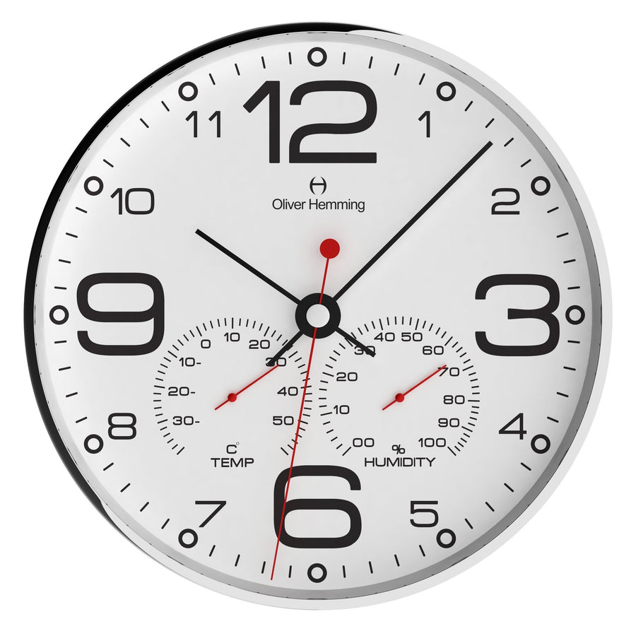 Oliver Hemming Simplex Chrome Temperature Wall Clock, White, 30cm
