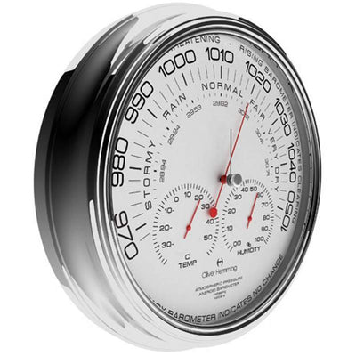 Oliver Hemming Chrome Steel Garage Barometer 36cm W360S105W 1