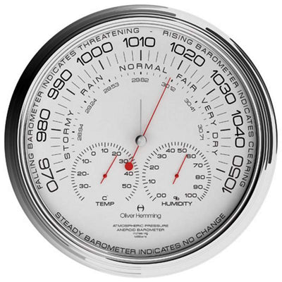 Oliver Hemming Chrome Steel Garage Barometer 36cm W360S105W 2