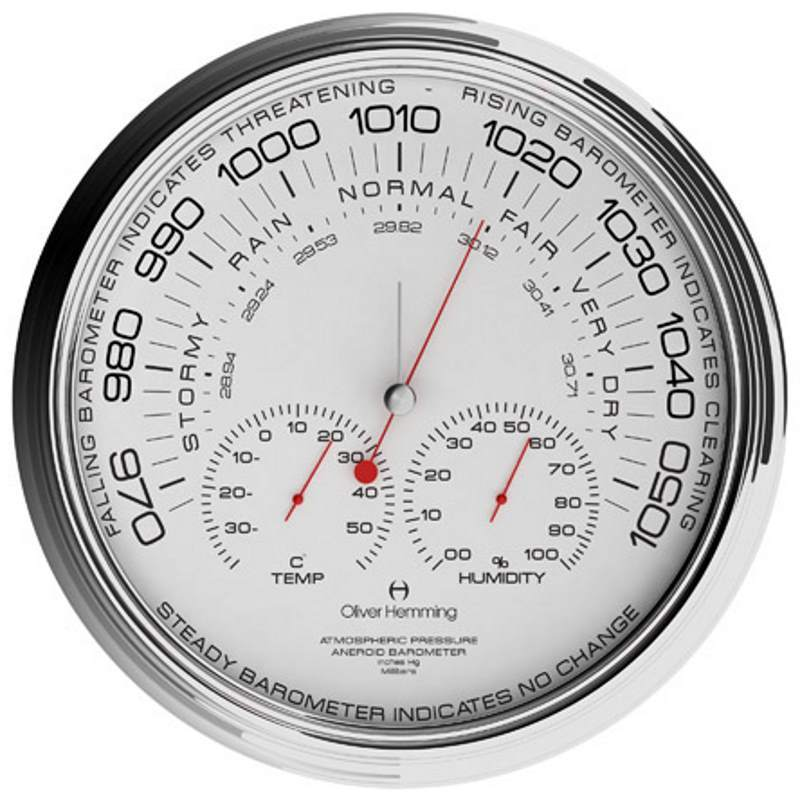 Oliver Hemming Garage Climate Center Chrome Barometer, 36cm