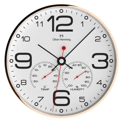 Oliver Hemming Copper Simplex Wall Clock White 30cm W300R51WTB 2